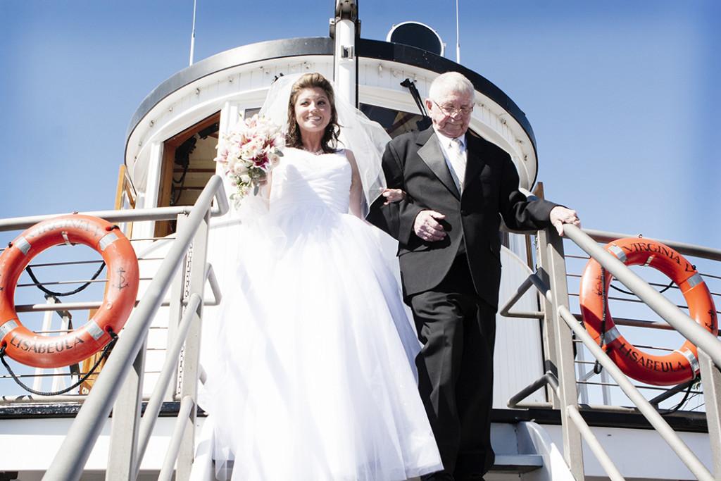 Bride wedding on Ship Whidbey Island
