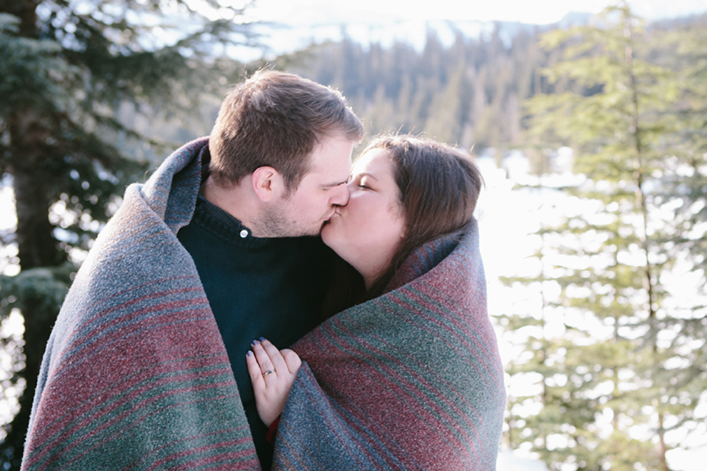 Methow Valley Winter Wedding Couple with Blanket