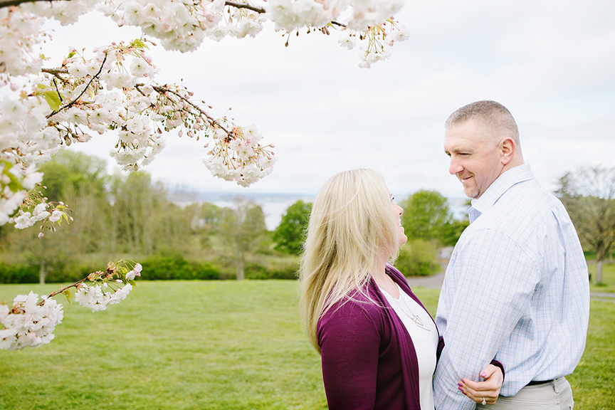 Cherry Blossom Spring Engagement Session Discovery Park