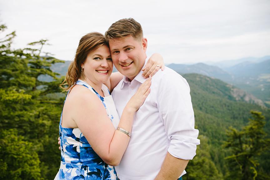 Blue dress mountain engagement