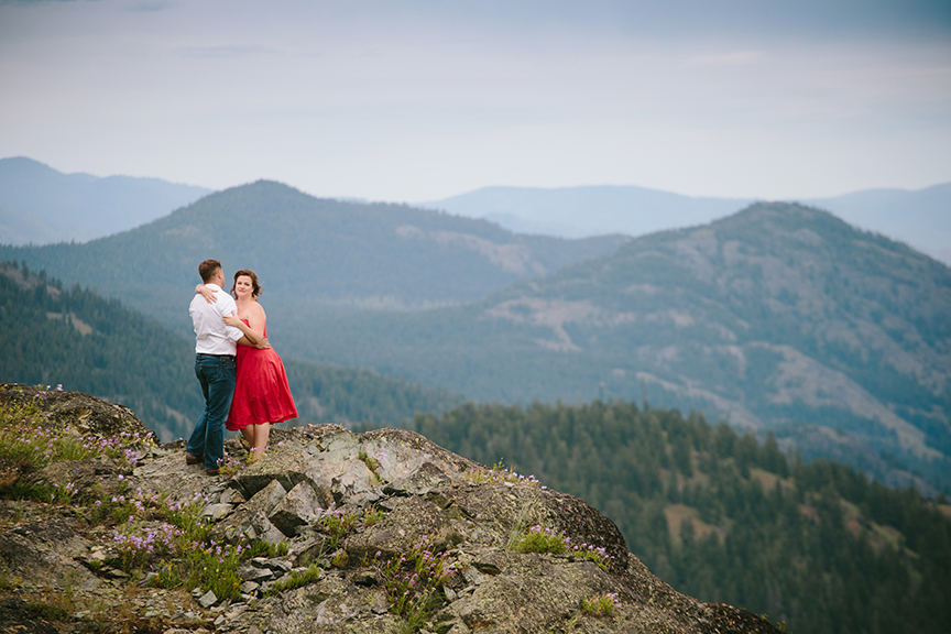 Red dress mountain engagement