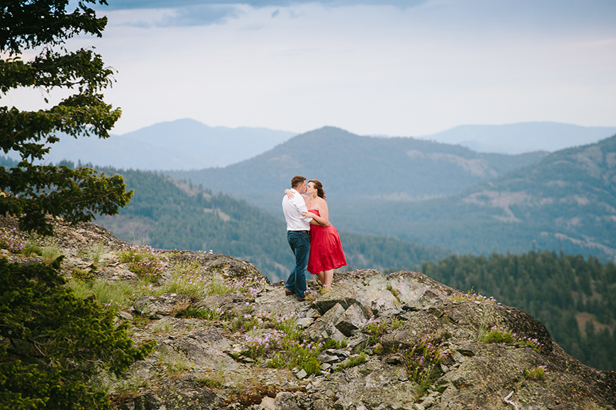 Fearless engagement session on mountain