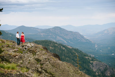 hiking engagement session on mountain