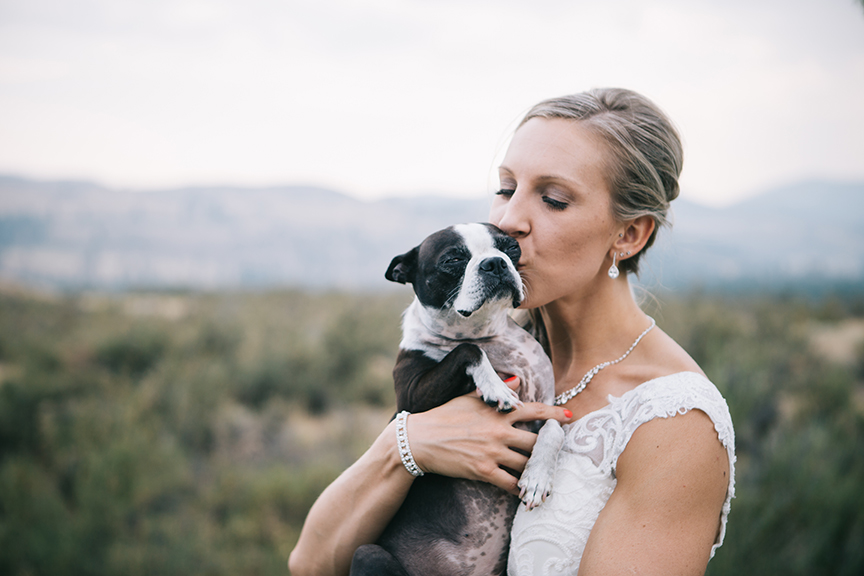 Bride with Dog Backyard Wedding