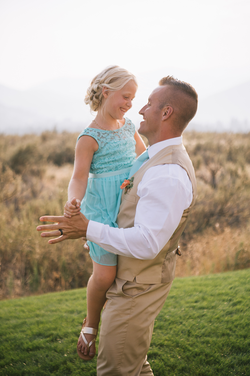 Groom dancing with daughter backyard washington wedding