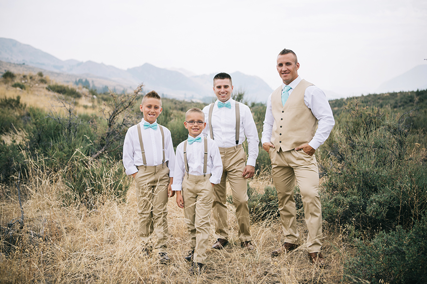 Groom and groomsmen group photo mountain top wedding