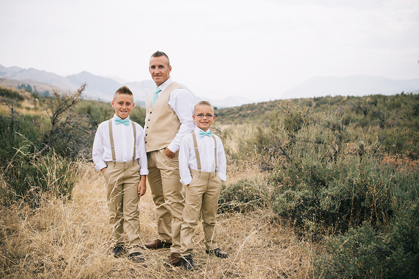 Groom with sons backyard PNW Wedding