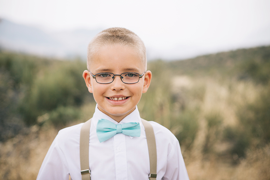 Portrait of little boy grooms son Pacific Northwest Wedding