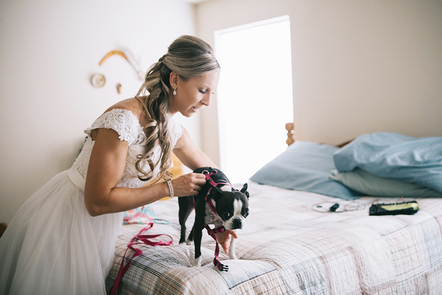 Bride getting ready with dog PNW wedding