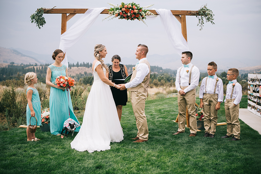 Bridal party at alter Methow Valley Wedding
