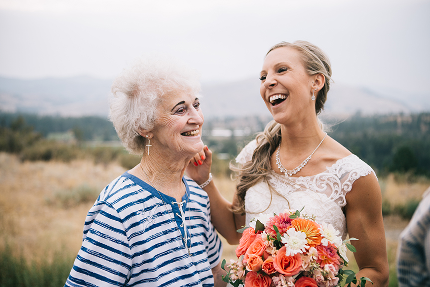 Bride with grandmother backyard wedding methow valley