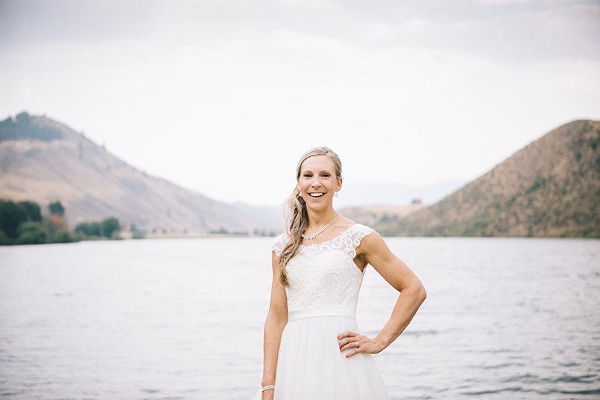 bride in front of lake winthrop wa