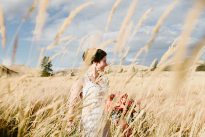 Bride in Golden Field Twisp Wa Wedding