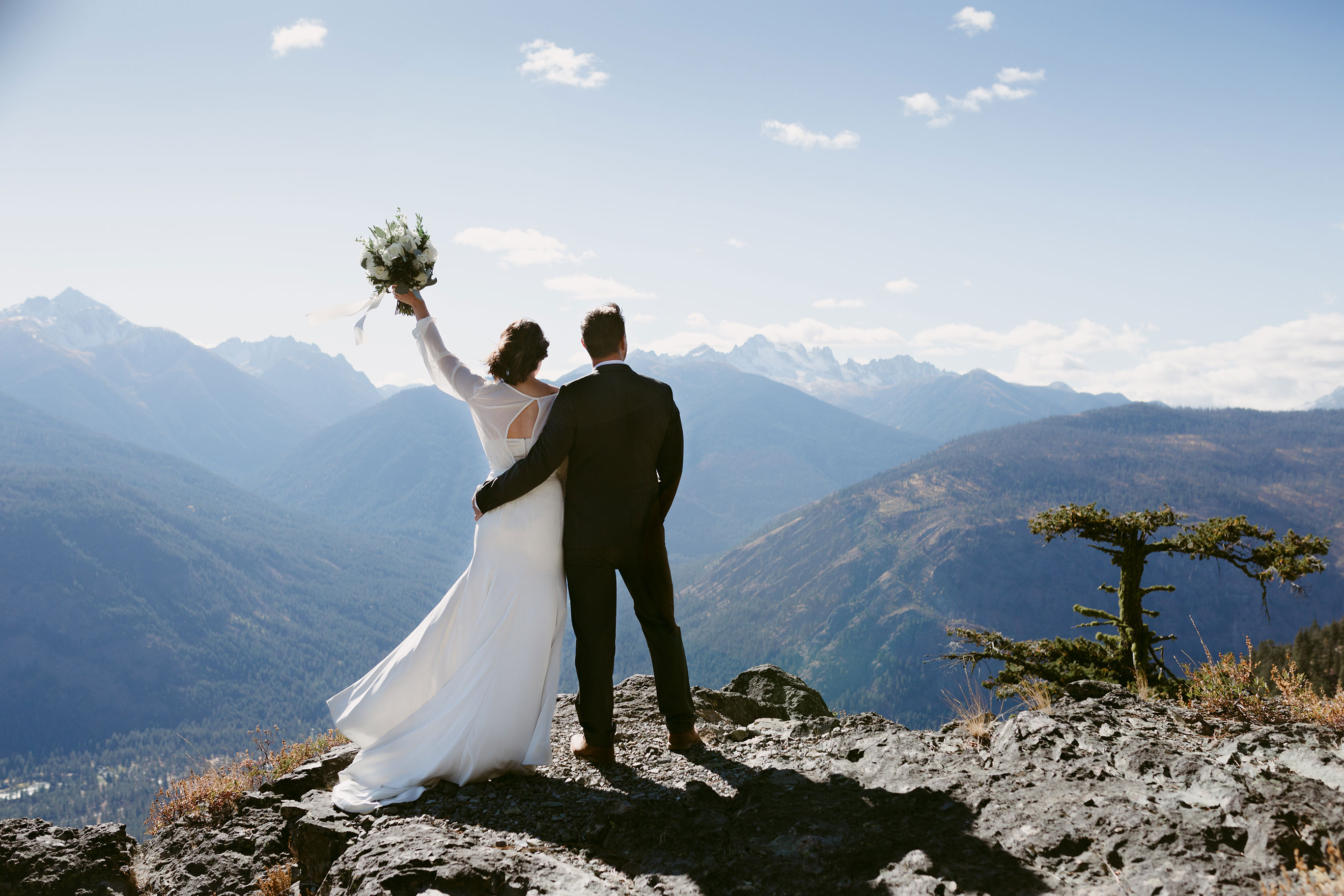 Bride and Groom Portrait on Mountain