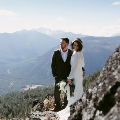Bride and Groom Portrait on Mountain Winthrop Wa