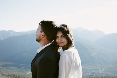 Bride and Groom Mountain Portrait