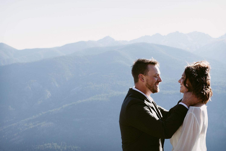 First Kiss Elopement on a mountain