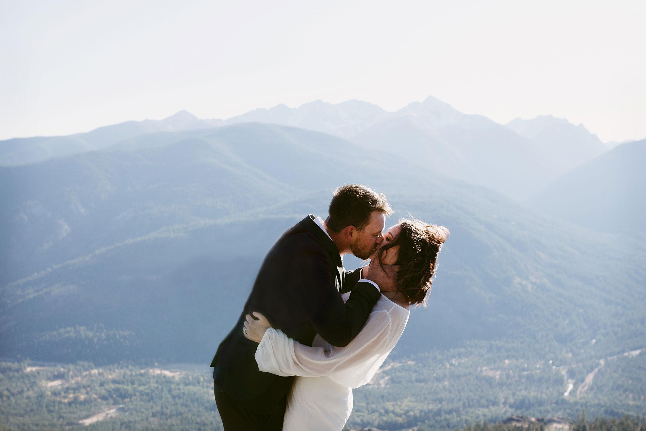 First Kiss Mountain Elopement Winthrop wa