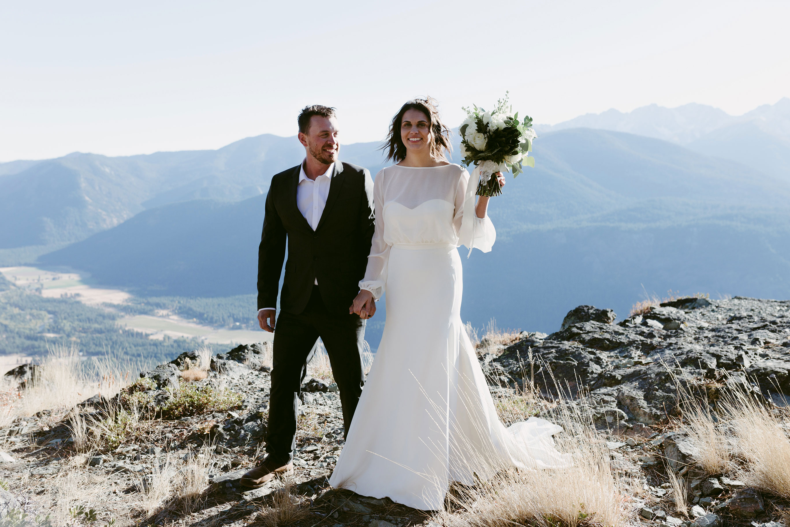 Bride and Groom on Goat Peak Winthrop Wa