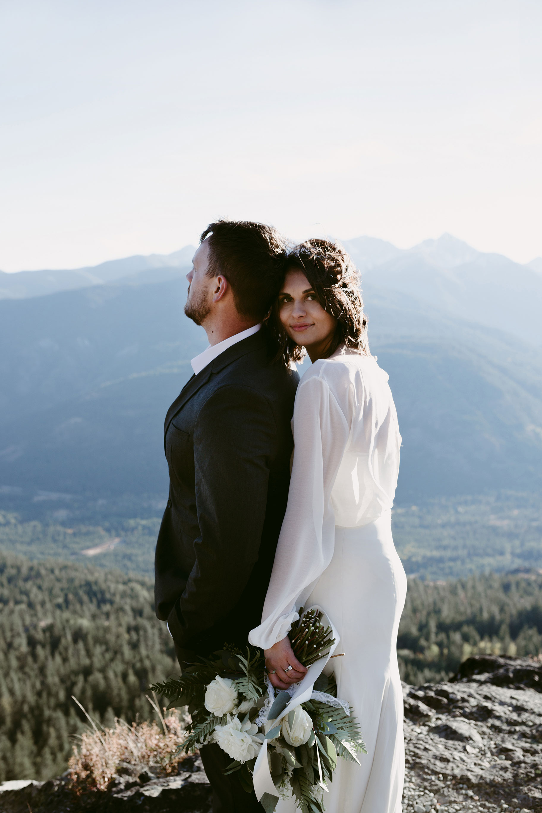 Bride and Groom on mountain Winthrop Wa