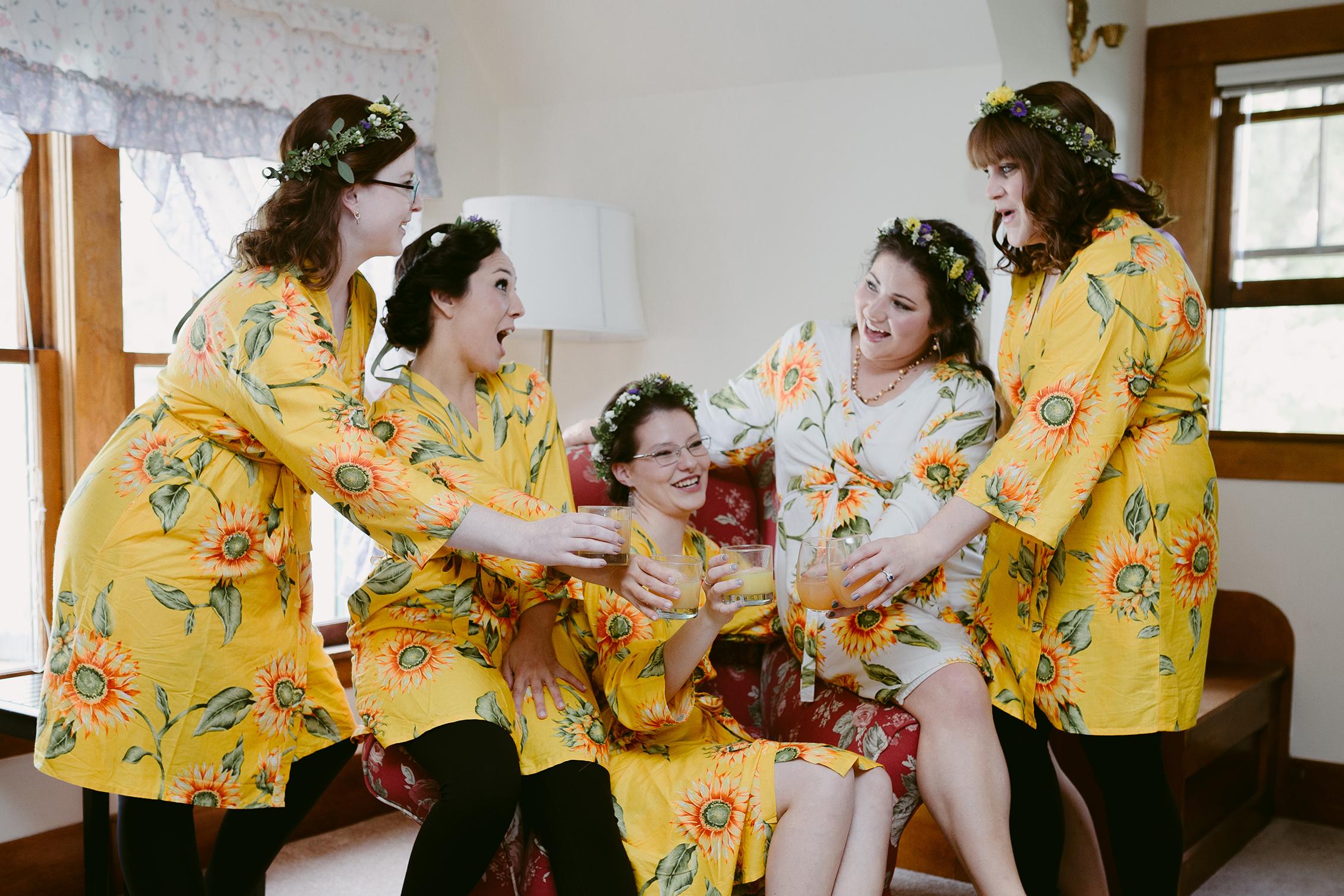 Bridal Party Cheering Spring Creek Ranch Winthrop Wa