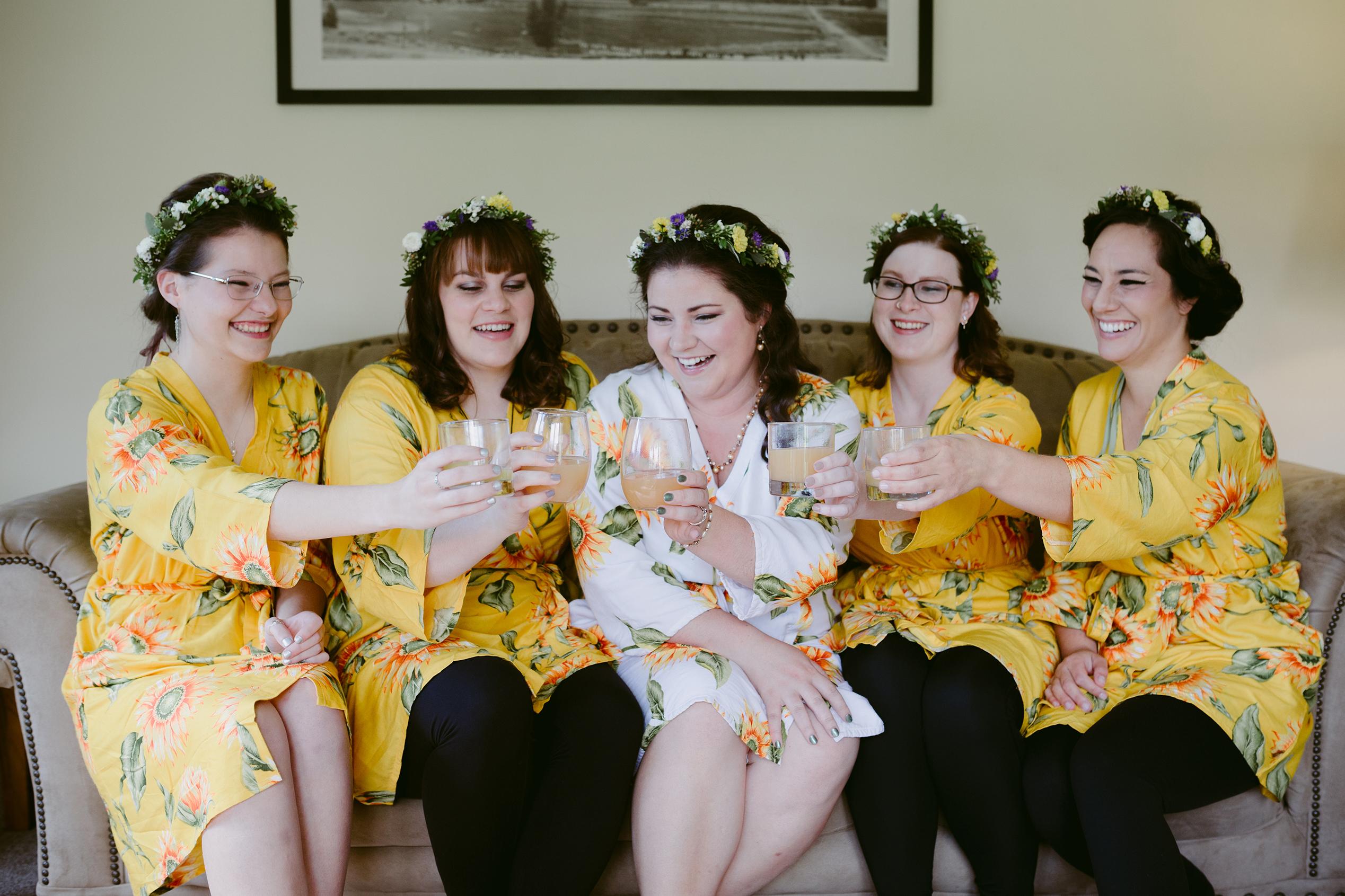 Bridal Party Toasting Spring Creek Ranch Winthrop Wa