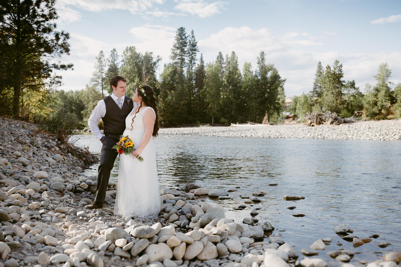 Bride and Groom Methow River Spring Creek Ranch