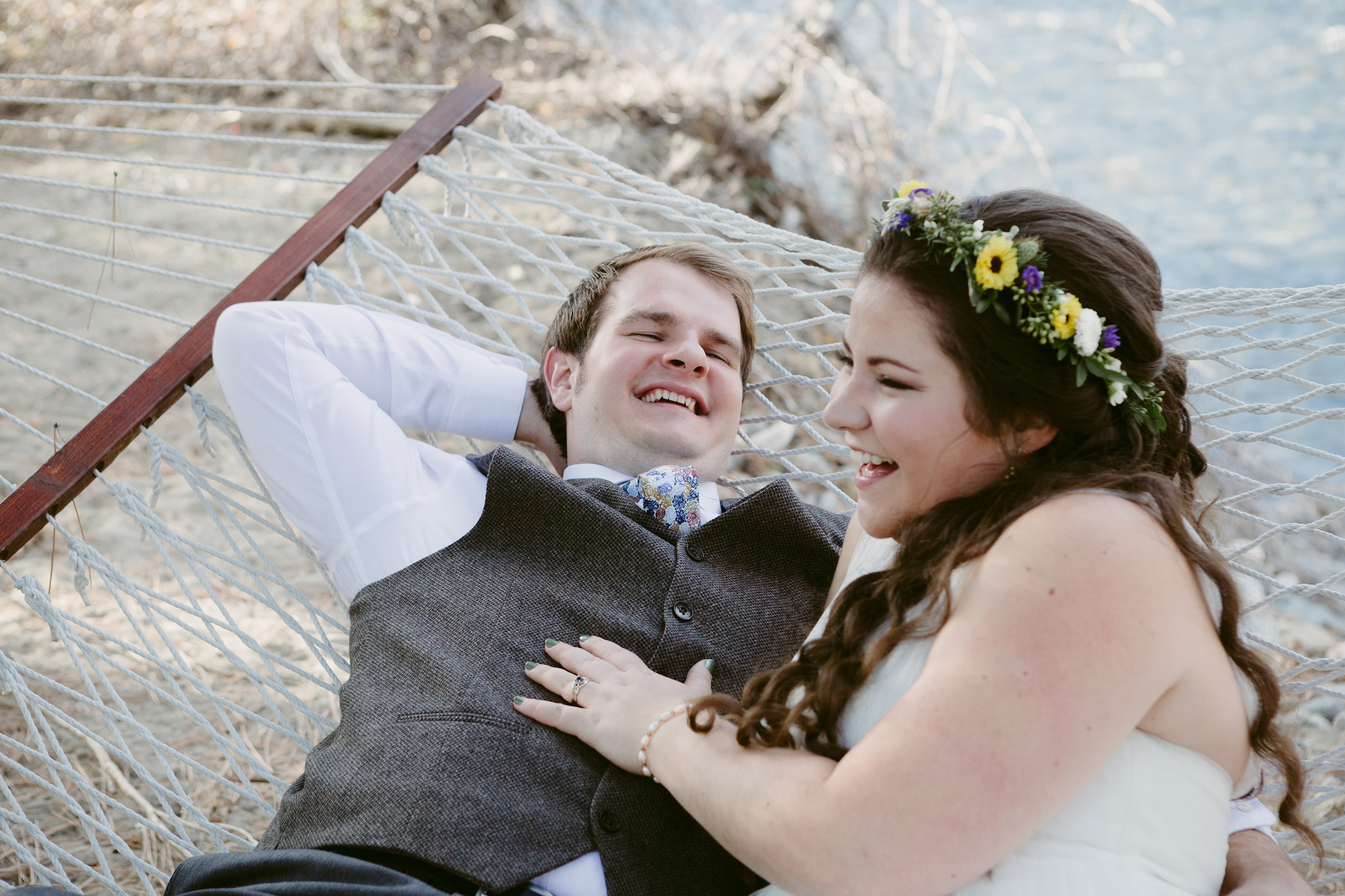 Bride and Groom Laughing Spring Creek Ranch