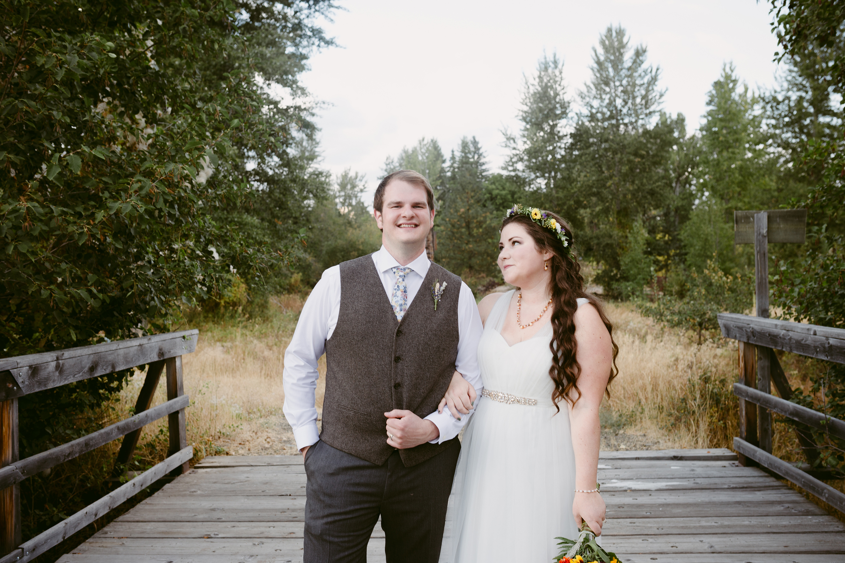 Bride and Groom on Bridge Spring Creek Ranch Methow Valley