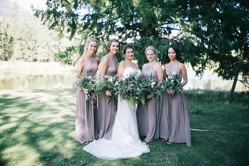 Bride with bridesmaids freestone inn