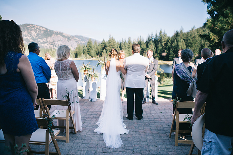 Bride and father walking down aisle methow valley wa