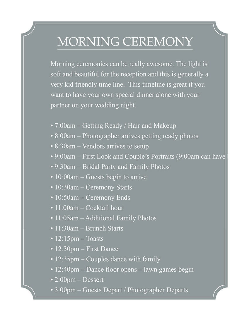 Morning Ceremony Timeline