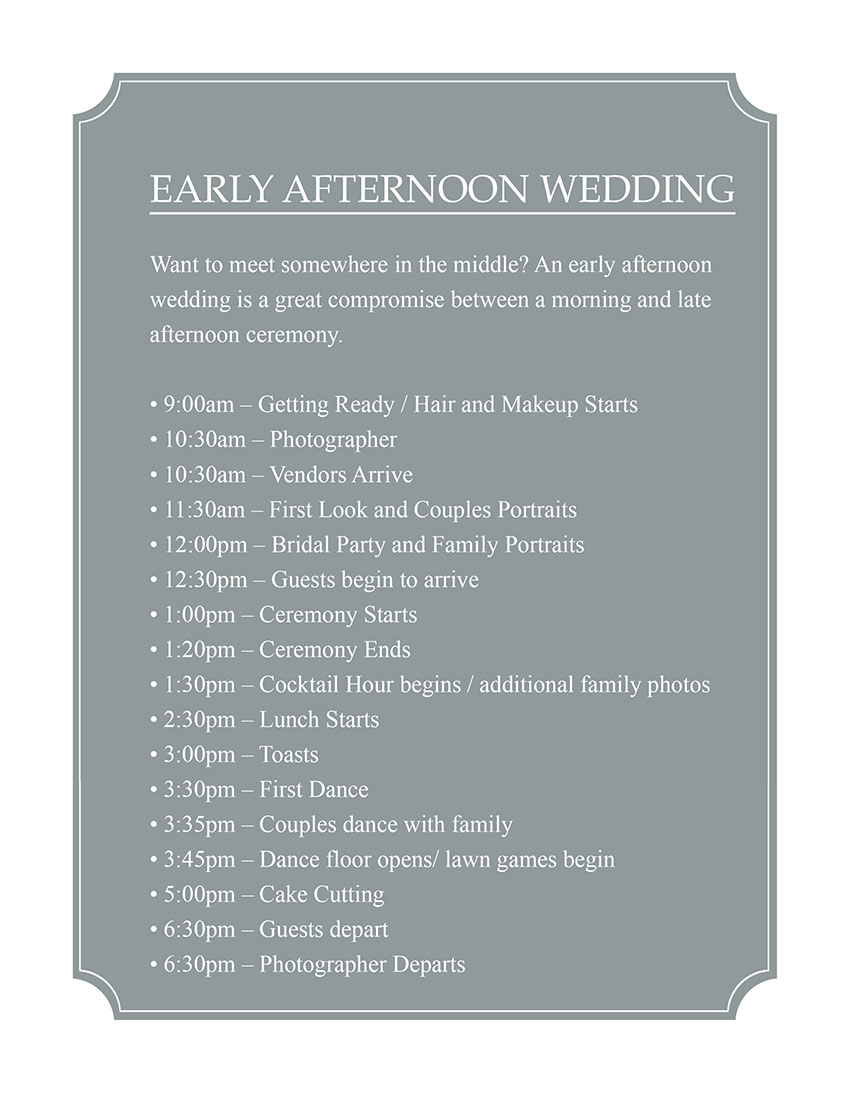 Early Afternoon Wedding Timeline