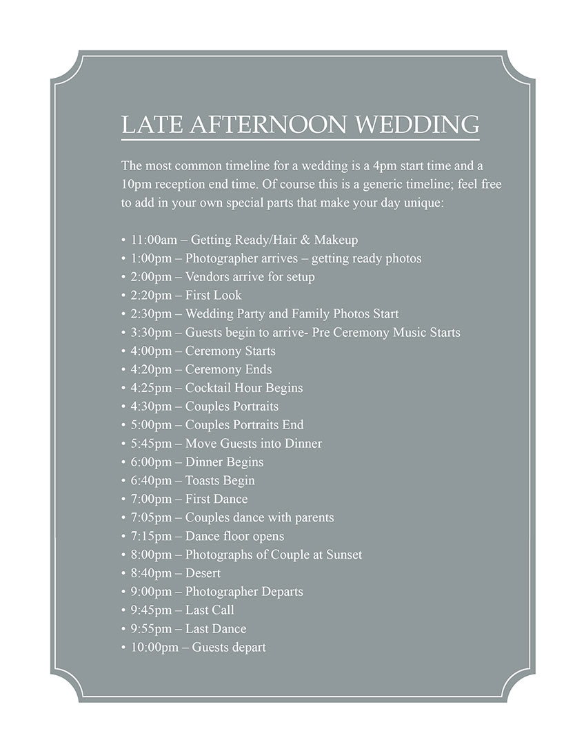 Late Afternoon Wedding Timeline