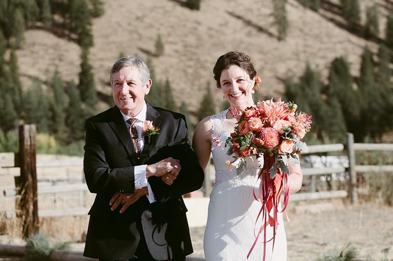 Bride and father walking down isle wintrhop wa