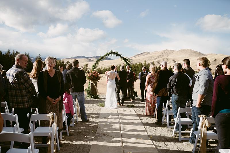 Bride and father walk down aisle winthrop wa