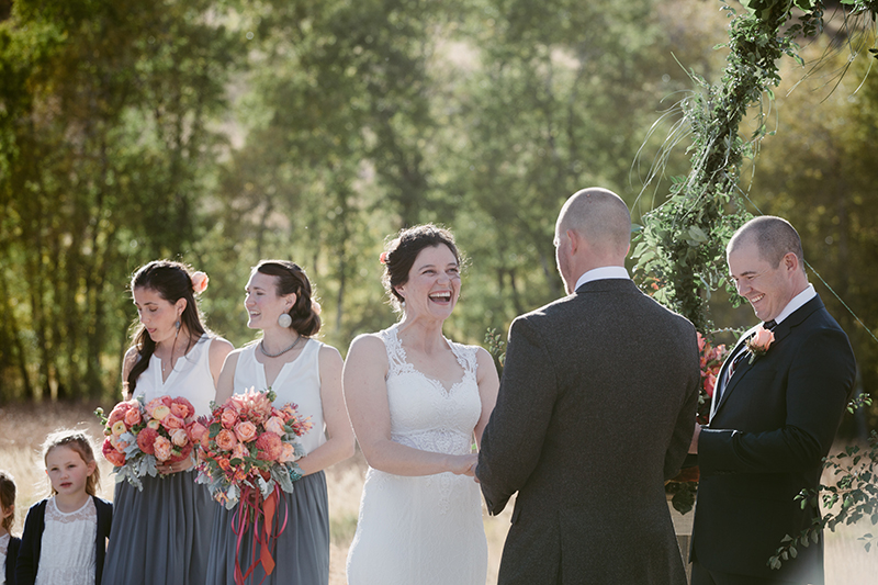 Outdoor wedding bride and groom at alter