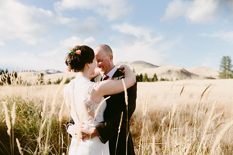 bride and groom hug in winthrop wa