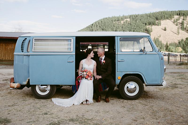 Blue Volkswagon bride and groom